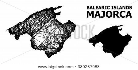 Net Vector Map Of Majorca. Linear Frame Flat Mesh In Vector Format, Geographic Template For Politica