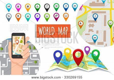 Flat Global Positioning System Composition With Male Hand Holding Mobile With Navigator Colorful Poi
