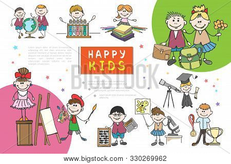 Hand Drawn Kids Composition With Happy Children Engaged In Painting Dancing Accounting Biology Chemi