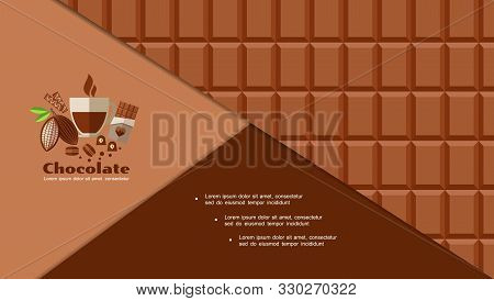 Flat Chocolate Bar Background With Tasty Candies Macaroons Cookies Cocoa Beans Cup Of Coffee Vector