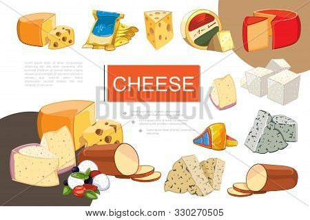 Cartoon Cheese Colorful Composition With Mozzarella Cheddar Gouda Feta Grano Padano Raclette Maasdam