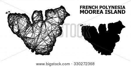 Net Vector Map Of Moorea Island. Wire Carcass Flat Mesh In Eps Vector Format, Geographic Model For E