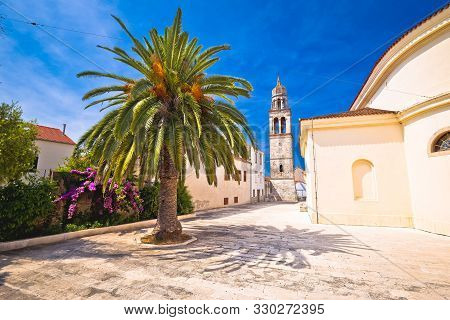 Vela Luka: Town Of Vela Luka On Korcula Island Church And Old Stone Square View, Archipelago Of Sout