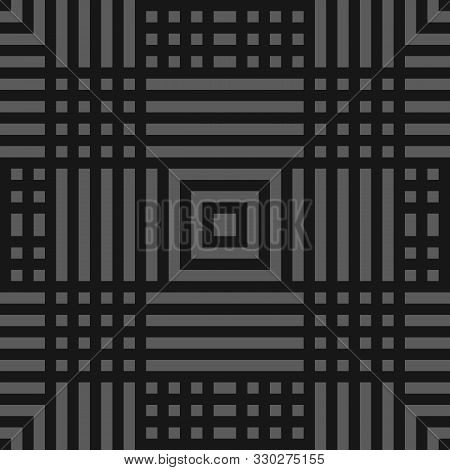 Vector Geometric Lines Seamless Pattern. Modern Monochrome Texture With Squares, Stripes, Lines, Che