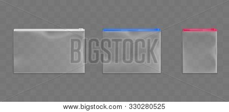 Plastic Zip Bags Set, Empty Pouches Of White, Red And Blue Zipper Color Isolated On Transparent Back