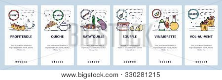 Mobile App Onboarding Screens. French Cuisine And Food, Profiterole, Ratatouille, Souffle. Menu Vect