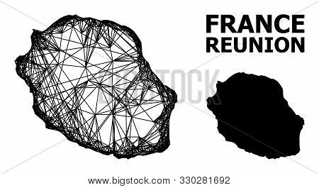 Web Vector Map Of Reunion Island. Linear Carcass Flat Mesh In Vector Eps Format, Geographic Model Fo