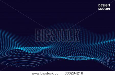 Waves With Particles On Dark Background. Futuristic Lines Of Many Dots. Design Element For Poster Co