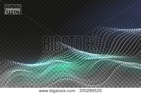 Color Abstract Linear 3d. Technology Data Flow Particles. Digital Composition. Vector Illustration T