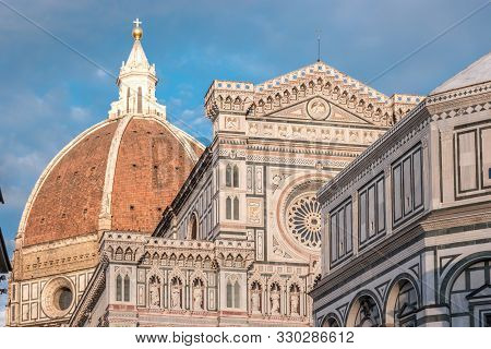 Florence Cathedral Of Saint Mary Of Flower, Florence Duomo And Giotto S Campanile Of Florence Cathed