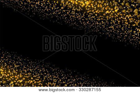 Sparkling Background Luminous Gold Stars Glitter Particles Effect. Star Dust Sparks In Explosion On
