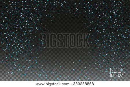 Blue Glitter Spray Texture Background. Vector Glittering Particles Of Crystal On Transparent Christm