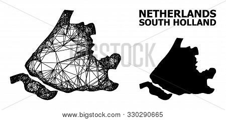 Web Vector Map Of South Holland. Linear Frame Flat Mesh In Vector Format, Geographic Template For Po