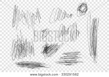 Ink Pen Scrawls Vector Illustrations Set. Chaotic Black Scribbles, Messy Thin Line Drawings Pack. Mo