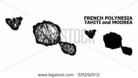Web Vector Map Of Tahiti And Moorea Islands. Wire Frame 2d Mesh In Vector Eps Format, Geographic Tem
