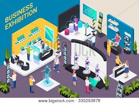 Modern Business Innovative Technology Exhibition Hall Isometric Composition With Electronic Devices