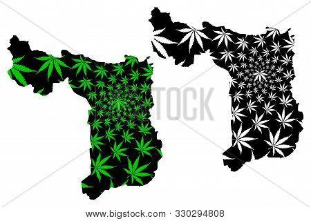 Suphan Buri Province (kingdom Of Thailand, Siam, Provinces Of Thailand) Map Is Designed Cannabis Lea