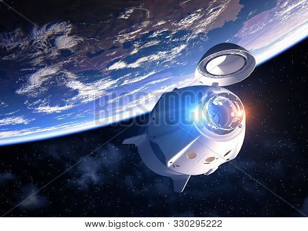 Commercial Spacecraft With Open Docking Hatch Orbiting Planet Earth. 3d Illustration.