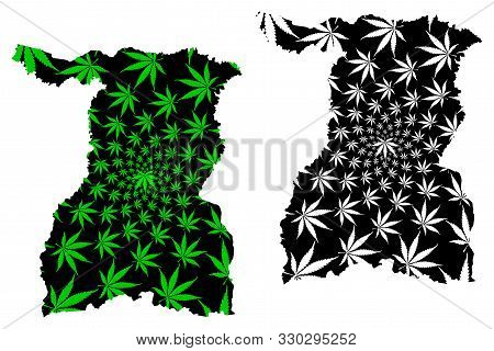 Surin Province (kingdom Of Thailand, Siam, Provinces Of Thailand) Map Is Designed Cannabis Leaf Gree