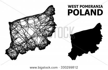 Web Vector Map Of West Pomerania Province. Wire Carcass Flat Network In Vector Eps Format, Geographi