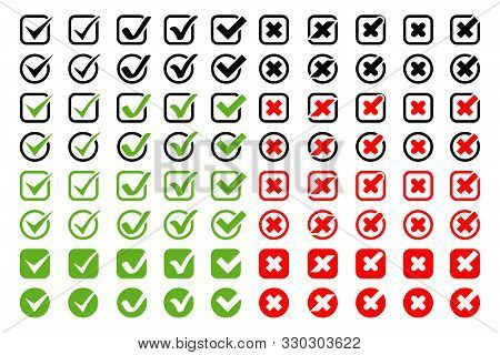 Check Marks With Crosses Vector Icons Big Collection. Check Marks With Crosses Different Shapes And