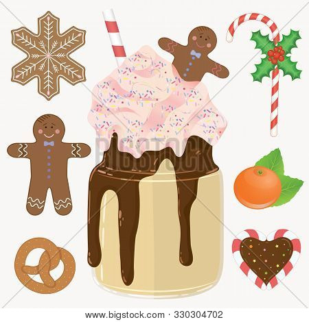 Holliday Bright Vector Illustration. Christmas Objects Cakes, Cocktail, Orange And Candy