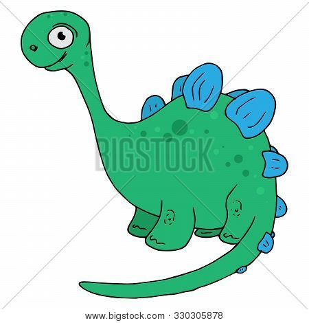 Dinosaur Icon. Vector Illustration Of A Cartoon Dinosaur. Cute Funny Dinosaur. Hand Drawn Dinosaur.