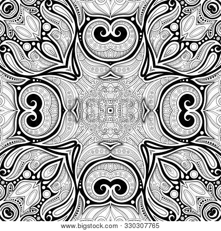 Monochrome Seamless Pattern With Mosaic Floral Motif. Endless ... | 470x450