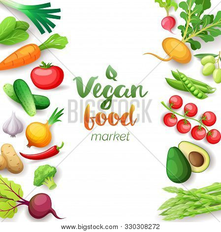 Vegetables Top View Square Frame. Vegan Food Market Menu Design. Colorful Fresh Vegetables, Organic
