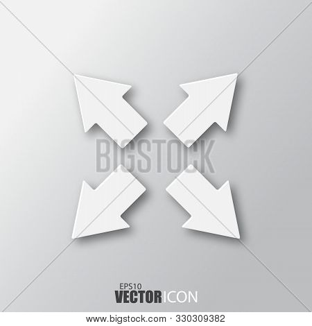 Full Screen Icon In White Style With Shadow Isolated On Grey Background.