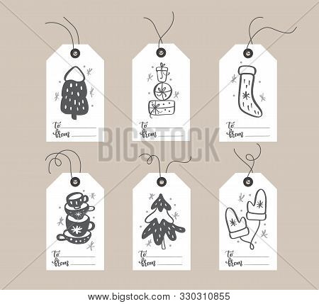 poster of Set of hand drawn doodle scandinavian Christmas element tags with place for text. Collection holiday vector gift tags and bundle decorative hygge xmas elements