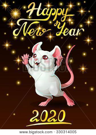 Card Ceerful White Mouse On Black Vert