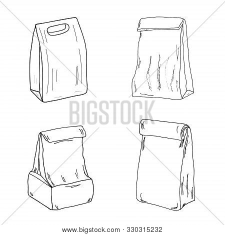Lunch Bag Set. Paper Lunch Box Collection Hand Drawn Vector Sketch