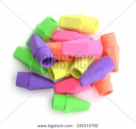 A Group Colorful Soft Erasers On White