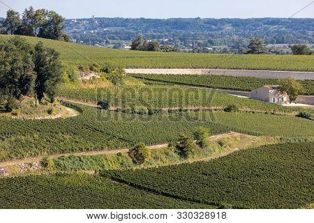 Famous French Vineyards At Saint Emilion Town Near Bordeaux, France. St Emilion Is One Of The Princi