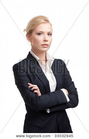 Blonde business woman in a black suit, isolated on white background