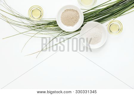 Spa Treatment Concept With Clay And Natural Oils, Natural Cosmetics For Glowing Healthy Skin, Flat L