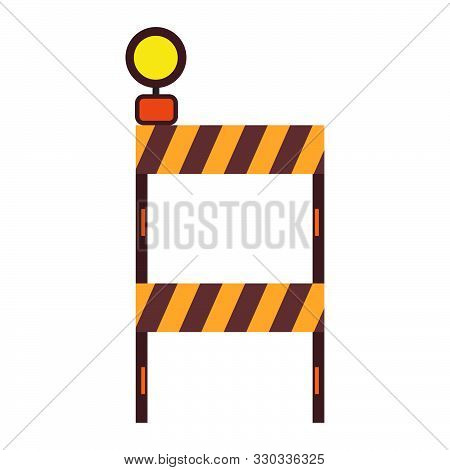 Construction Barricade Stop Symbol Traffic Equipment Boundary. Industry Roadblock Highway Obstacle W
