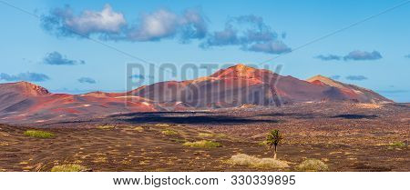 Landscape With Volcanoes Mountain In Timanfaya National Park, Lanzarote, Spain