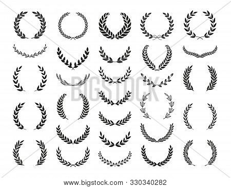 Set Of Different Silhouette Laurel Foliate And Olive Wreaths Depicting An Award, Achievement, Herald