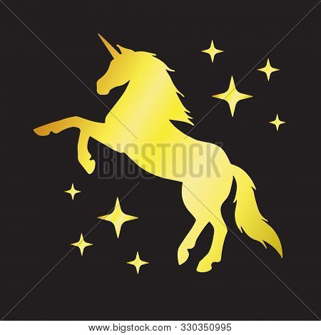 Vector Golden Glitter Unicorn Silhouette With Stars Isolated On Black Background