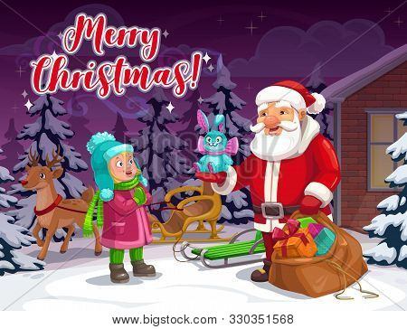 Merry Christmas Winter Holiday, Santa Claus Giving Bunny Toy Gift To Happy Boy Or Girl Kid. Vector X