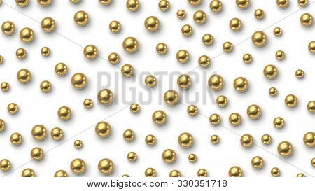 Golden Balls Scattered On White Background. Vector Illustration