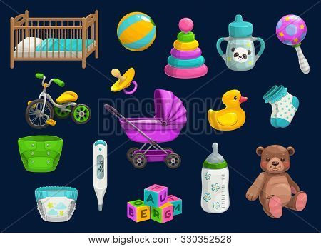 Baby Item Icons With Vector Toys And Child Care Products. Bottle, Rattle And Pacifier, Stroller, Dia