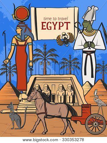Travel To Egypt Vector Design Of Ancient Egyptian Pharaoh Pyramids, Gods And Temple. Sphynx, Osiris