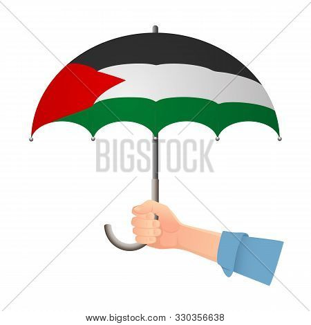 Palestine Flag Umbrella. Weather Symbols. National Flag Of Palestine Illustration