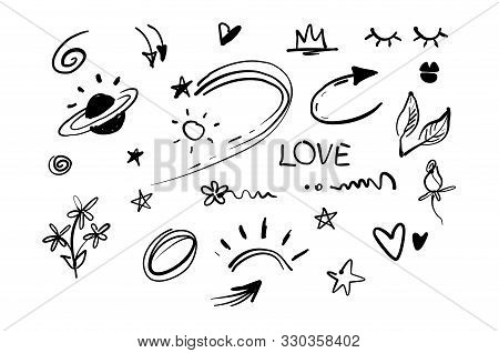 Hand Drawn Doodle Swishes, Swoops, Emphasis Vector Set. Collection Of Black And White Highlight Text