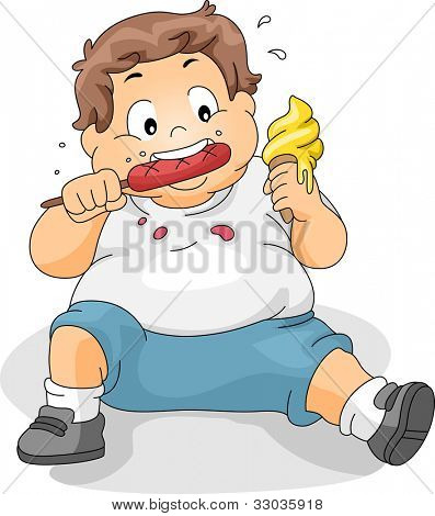 Illustration of an Overweight Boy Eating