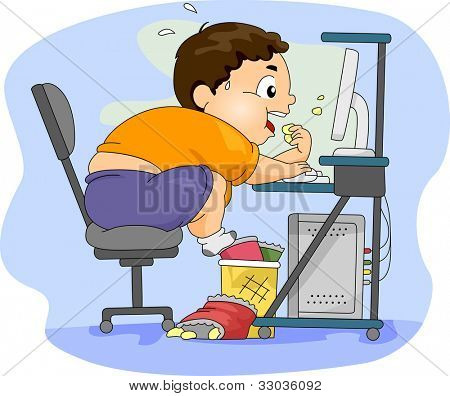 Illustration of an Overweight Boy Eating in Front of His Computer
