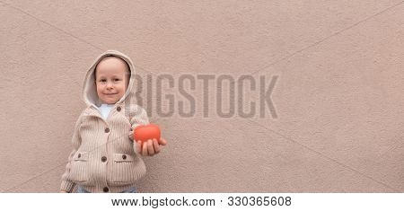 Happy Little Boy, Red Toy Heart, Free Space Text. Emotions Joy Happiness Care, Concept Give Love, Su